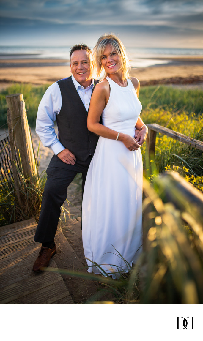 Troon beach couple ayrshire wedding photograph
