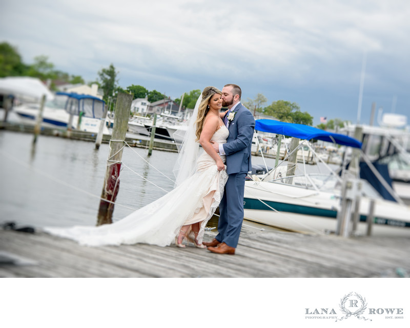 Wedding photo at the marina near Captain Bill's ,Bayshore