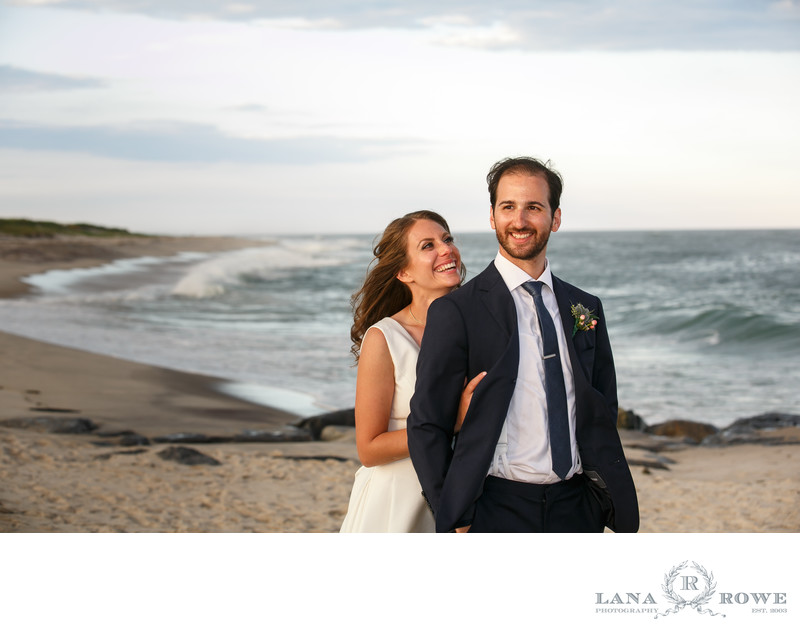 Oceanbleu, Westhampton bride and groom on beach