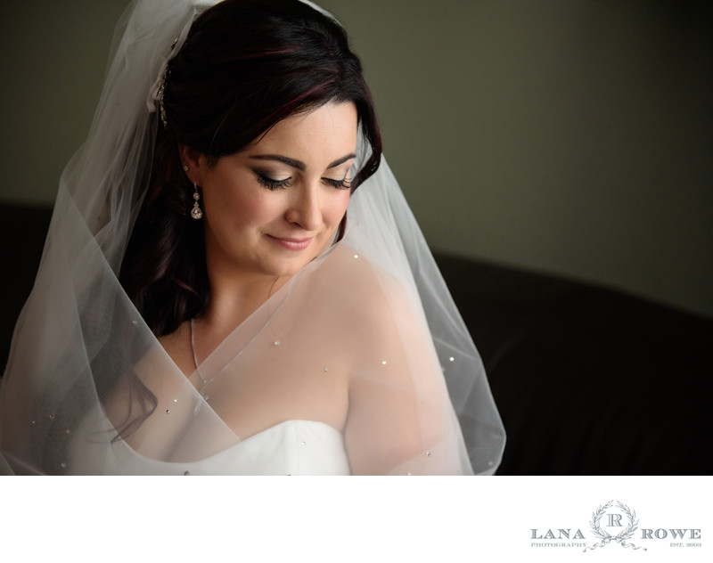 Bride with veil by window