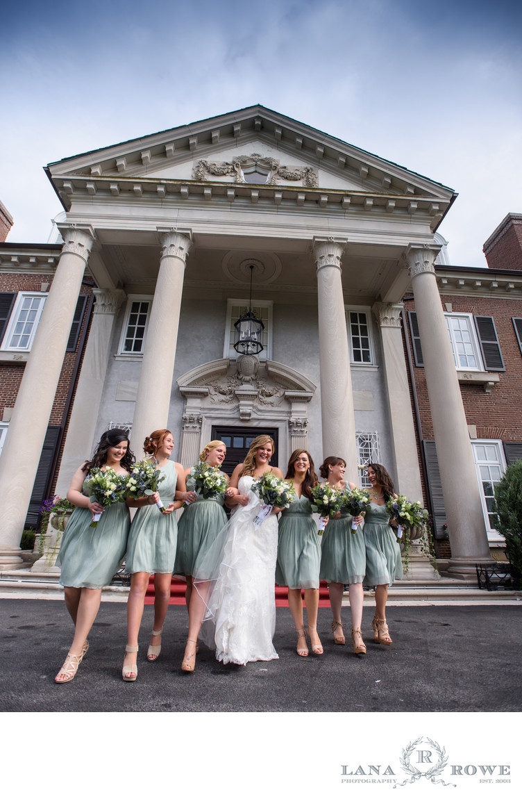 Glen Cove Mansion bride with girls