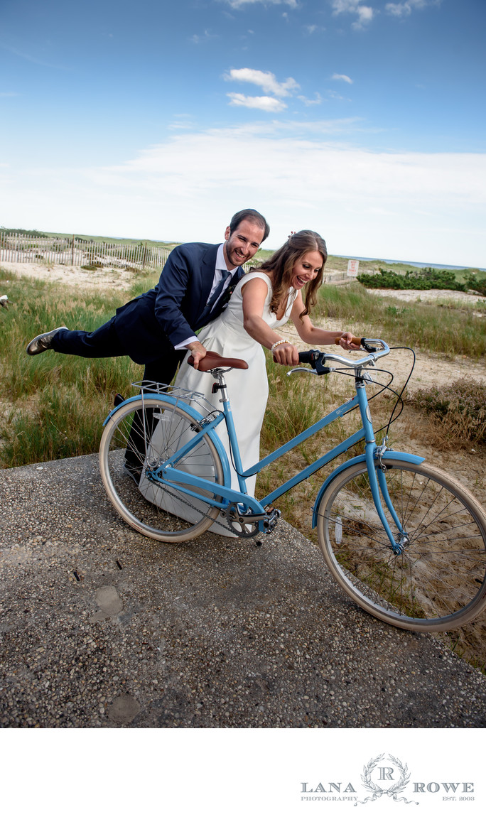 Oceanbleu, Westhampton  bride and groom with blue bike