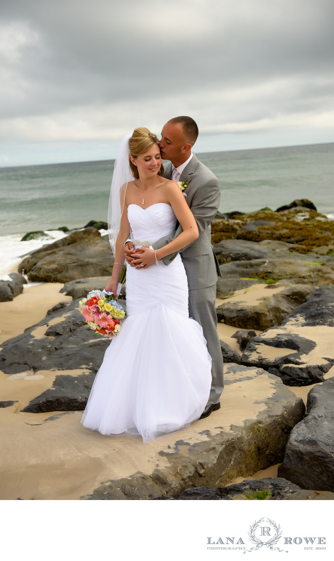 Oceanbleu, Westhampton  bride and groom on the rocks