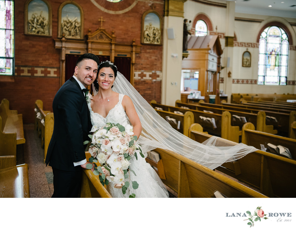 St Killian church pews with Bride and Groom