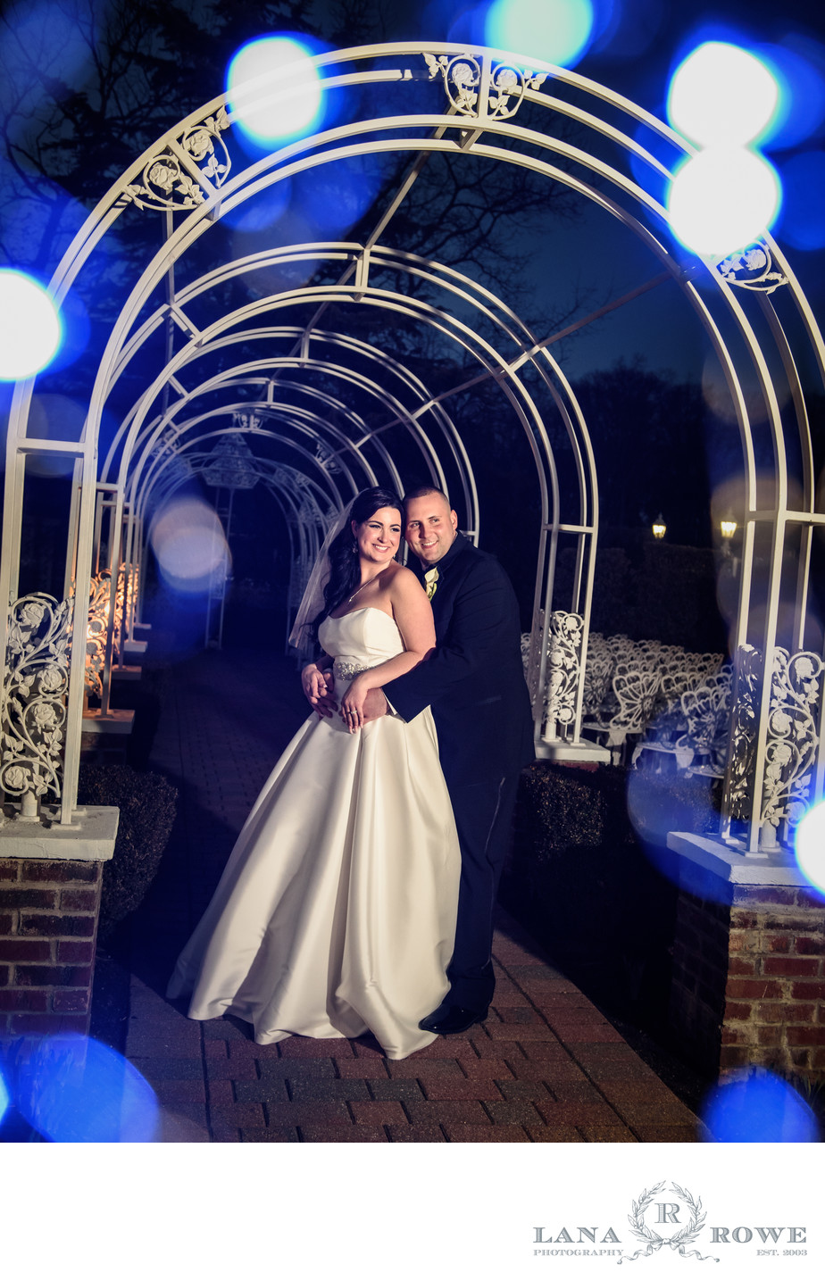 Bride and Groom with blue lights