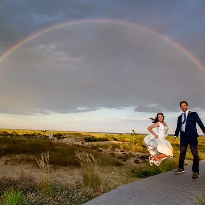 Oceanbleu, Westhampton Beach under the double rainbow wedding