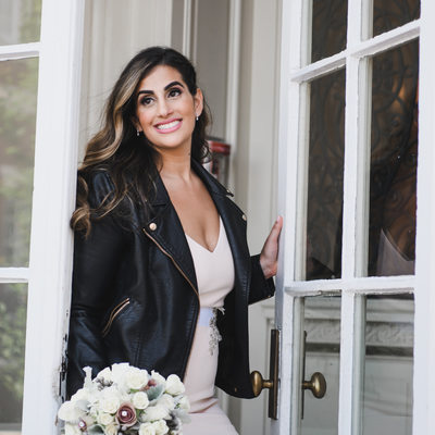 Bourne Mansion Bride in a leather jacket