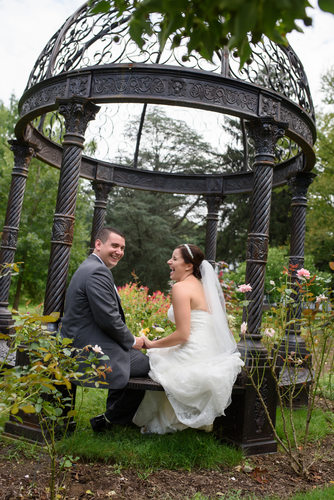 larkfield bride and groom in garden