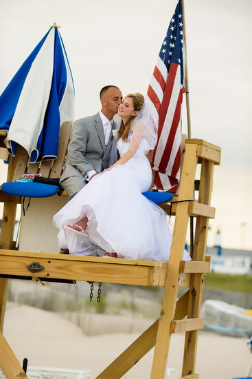 Oceanbleu, Westhampton  bride and groom lifeguard chair