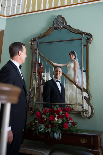 Bride and father first look Bourne Mansion