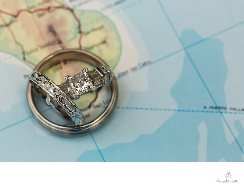 Wedding Ring Photography over Map