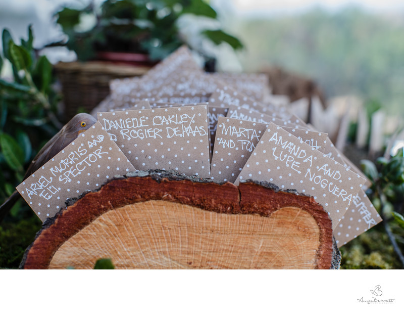 Wedding Place Cards in Wooden Log