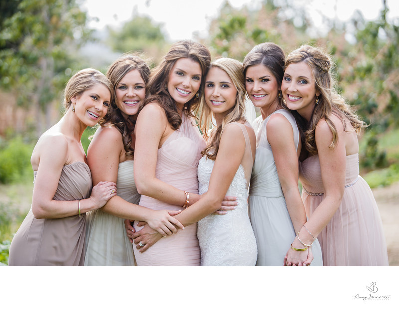 Bridal Party Hugging