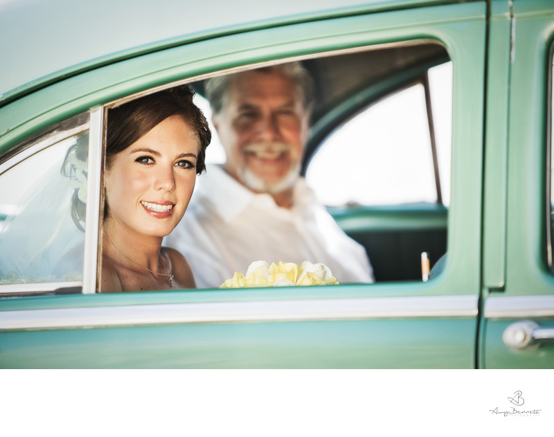 Bridal Portrait in Antique Car