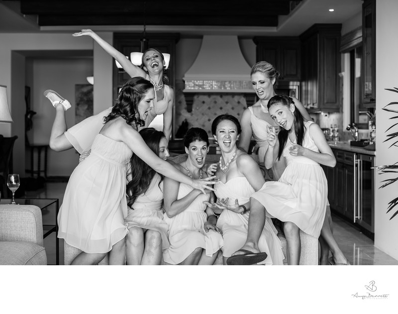 Bridesmaids having fun before the ceremony