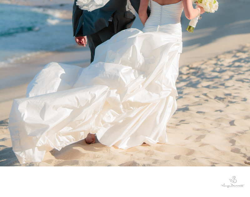 Back of Wedding Dress on Beach