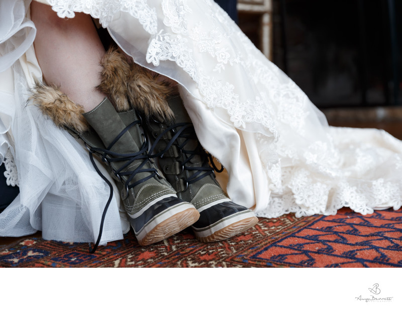 Snow Boots at Vermont Barn Wedding
