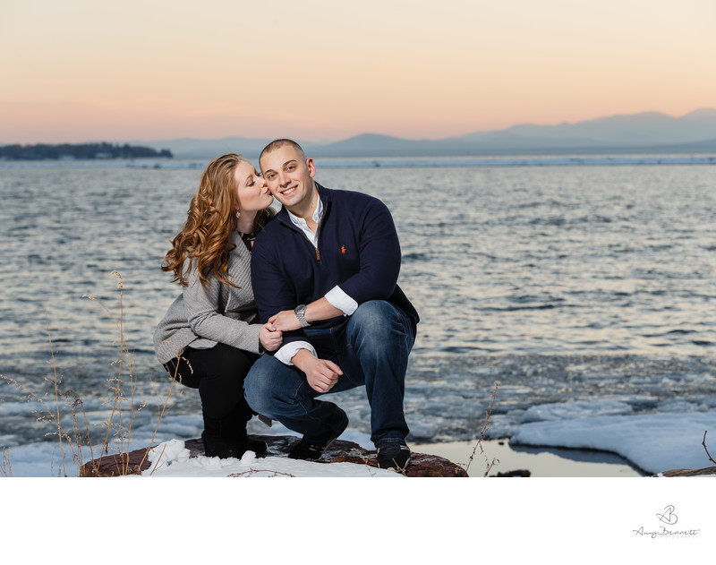 Sunset Cheek Kiss Lake Champlain Engagement