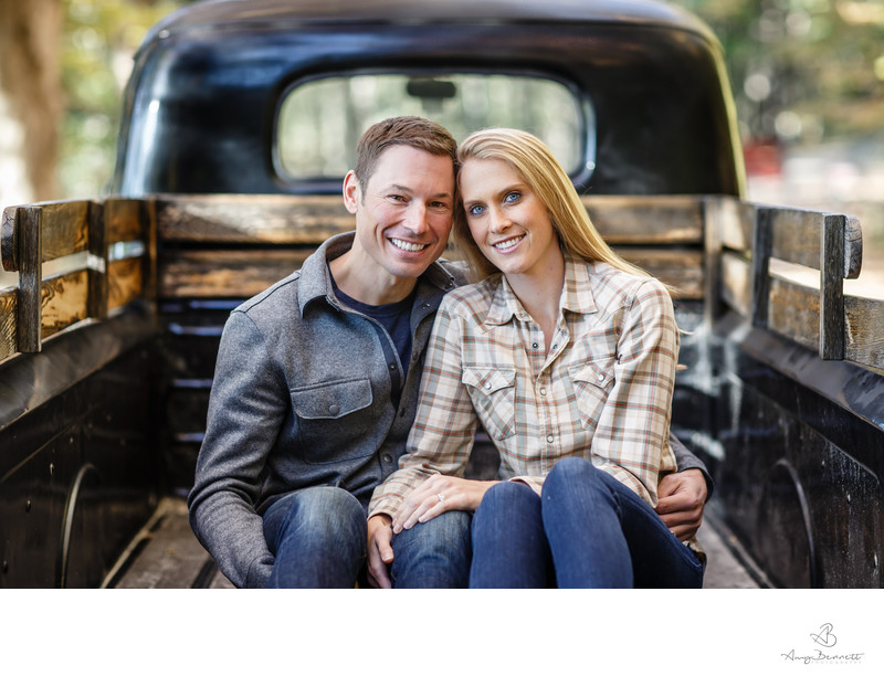 Engagement Photos in Pickup Truck