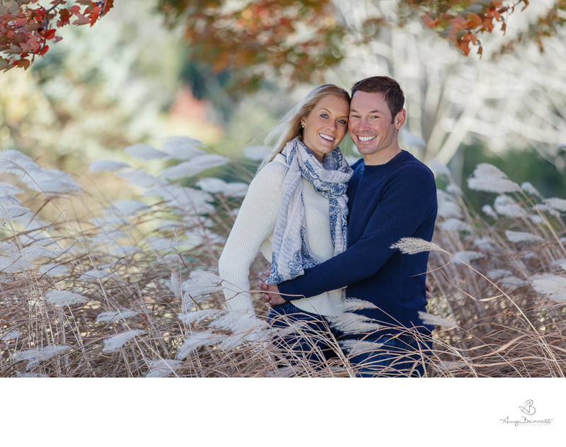 Vermont Engagement Photography in Autumn Wheat Field