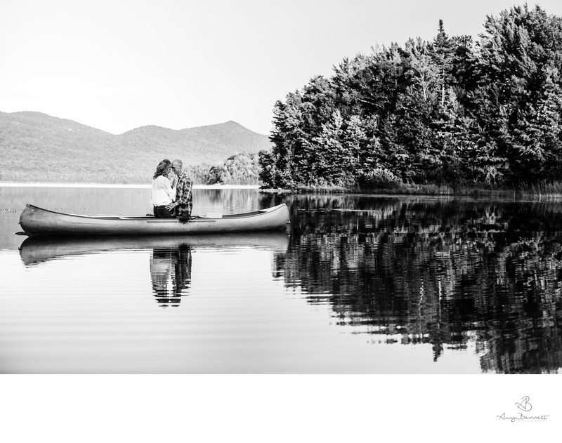 Engaged Couple in Canoe at Mountain Top Inn