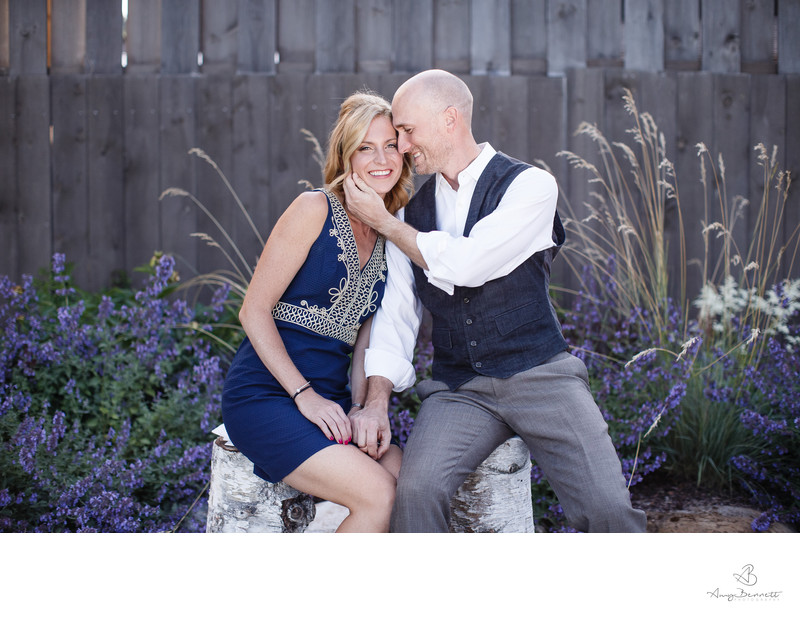 Blissful engaged couple with Lavender