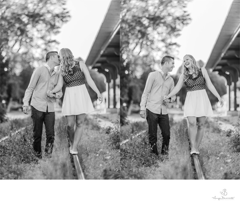 Black and White New England Engagement Photography