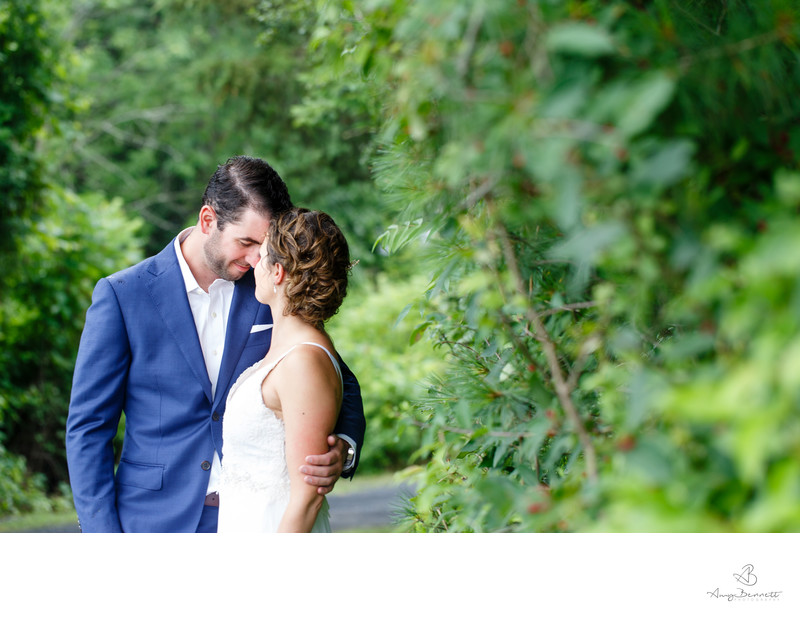 Romantic Moment with Pine Trees Vermont Wedding