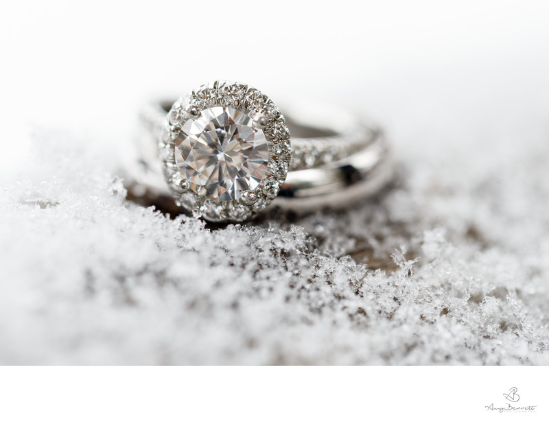 Wedding Rings in Snow at Winter Weddings