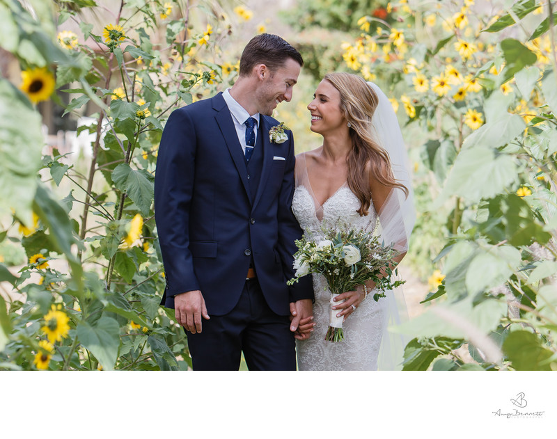 Wedding Portrait with Sunflowers