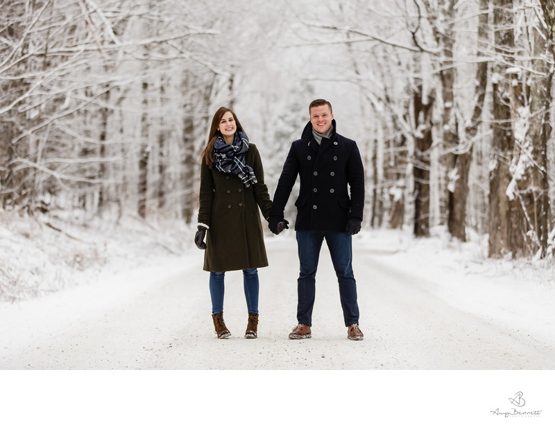 Vermont Winter Engagement Holding Hands