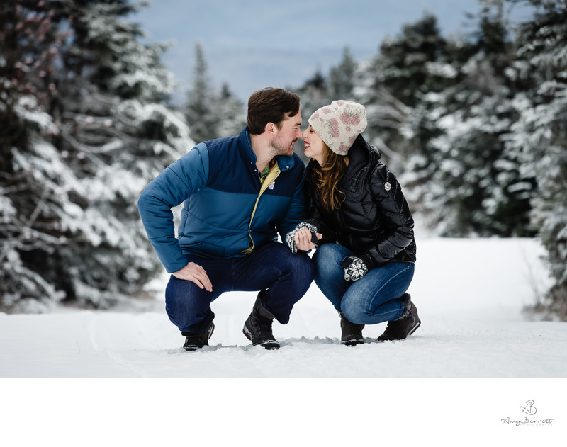 Ski Slope Engagement Session in Vermont