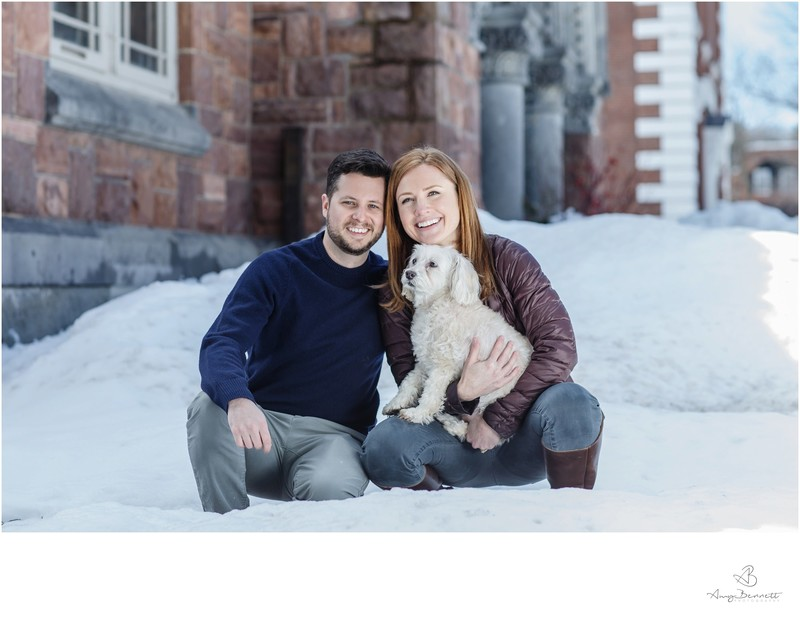 Vermont Winter Engagement With Snowy Pup