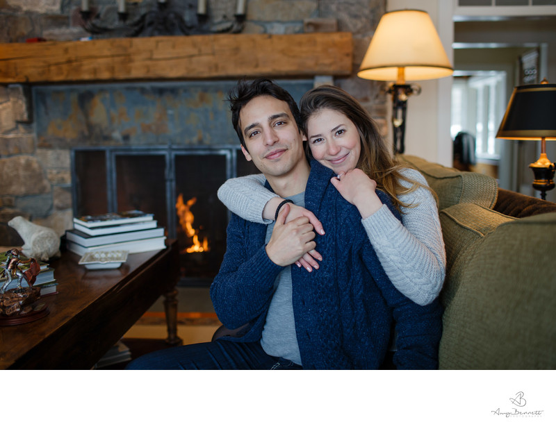 Cozy Fireside Engagement in Vermont