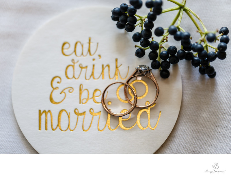 Eat Drink and Be Married Coaster Ring Photography
