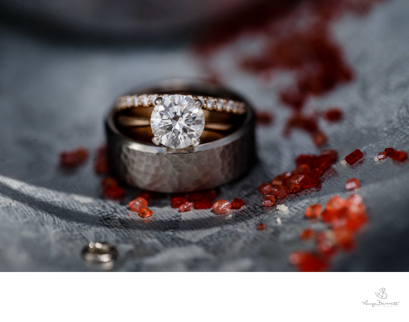 Wedding Ring Photography With Sugar Details