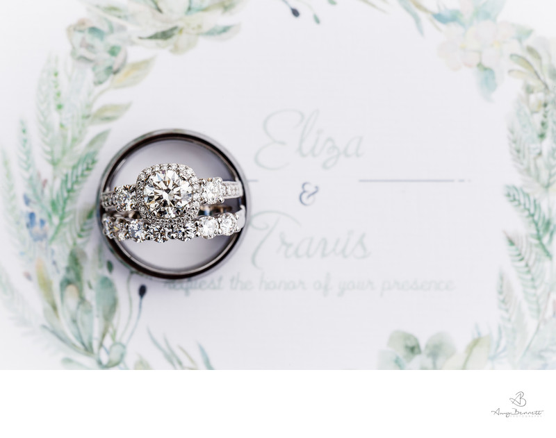Minted Wedding Invitations as a Wedding Ring Backdrop