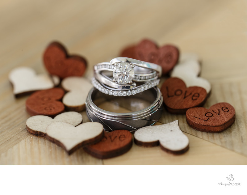 Inset Wedding Bands With Wooden Heart Details