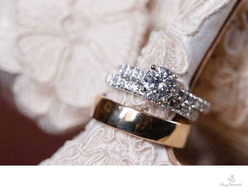 Wedding Rings with Lace Bridal Shoe Details