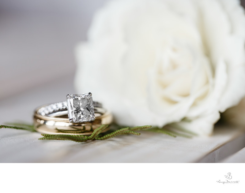 Square Cut Diamond Wedding Photography With Flowers