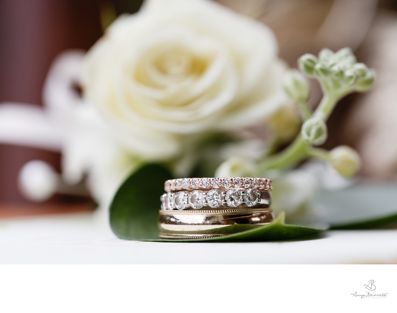 Wedding Ring Stack Photography With Floral Details