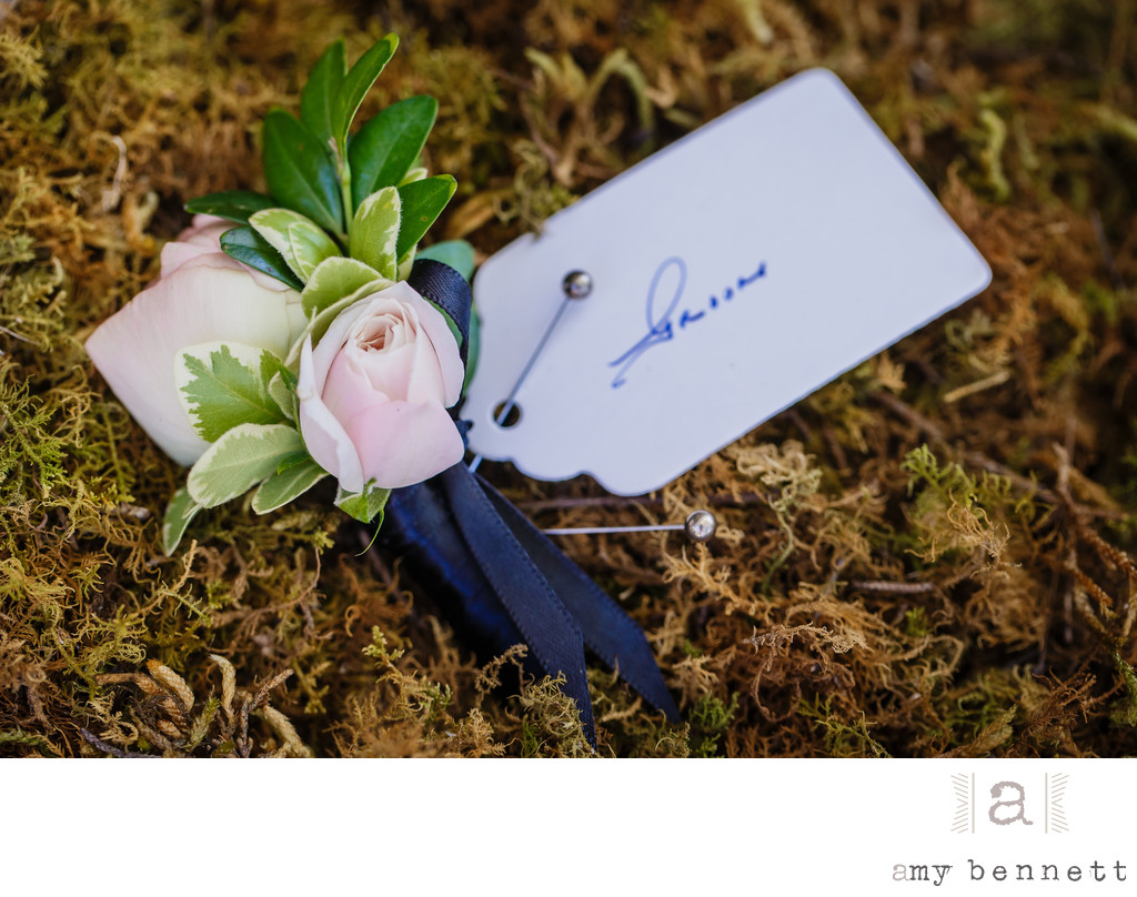 Pink Rose Boutonniere with Moss