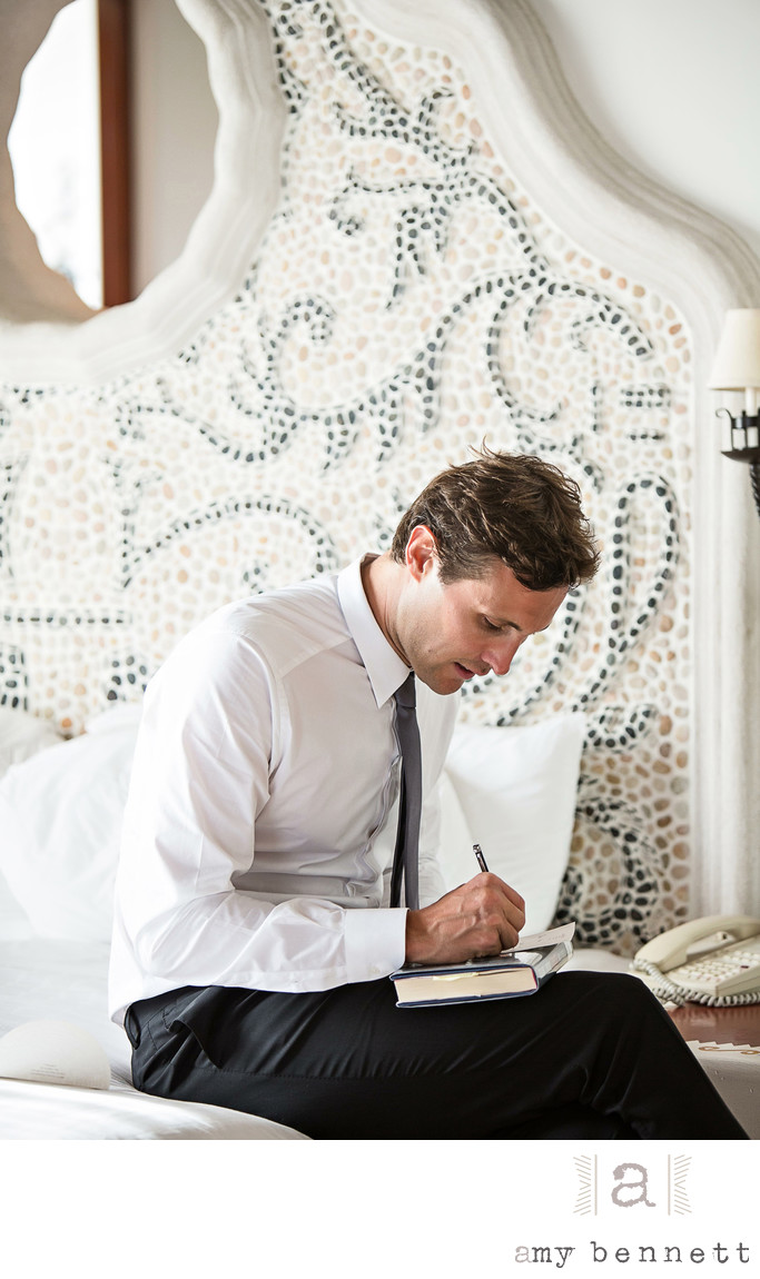 Groom Writing Note for Bride