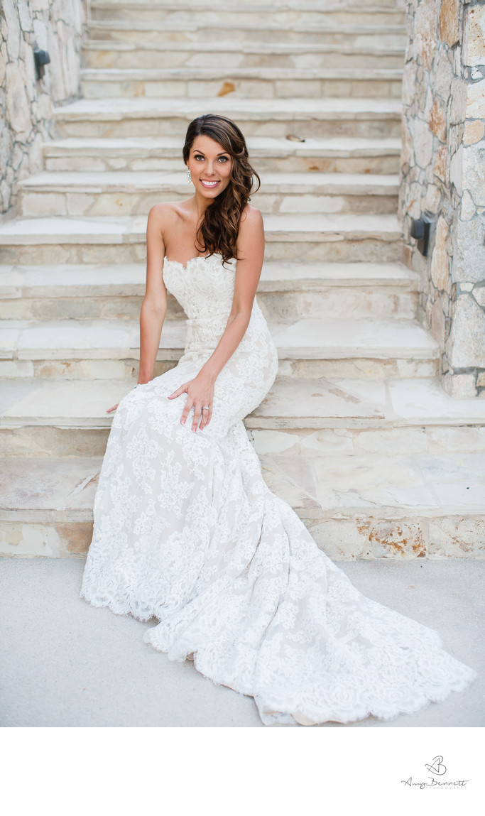 Bride on a Staircase at Destination Wedding