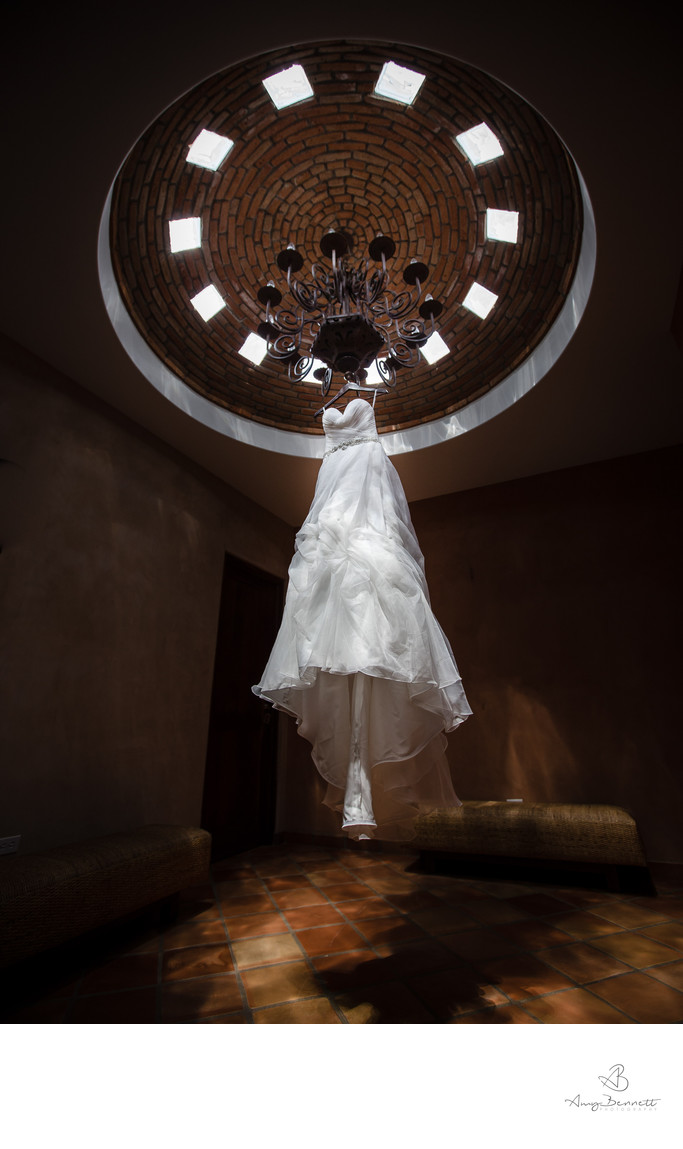 Wedding Dress Hanging in Cool Room