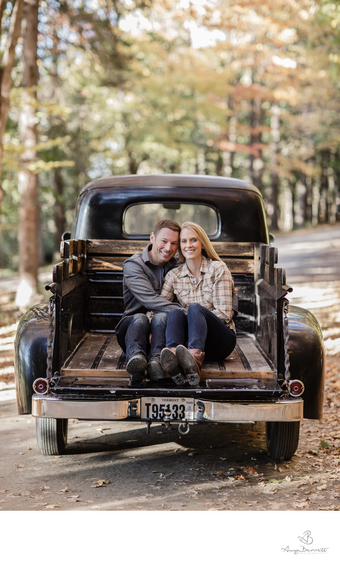 Vermont Engagement Couple in Pickup Truck