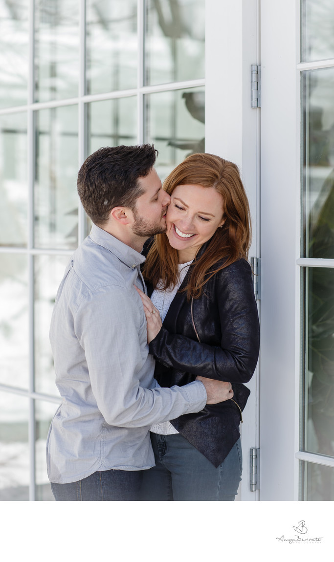 Cheek Kiss Engagement Photography