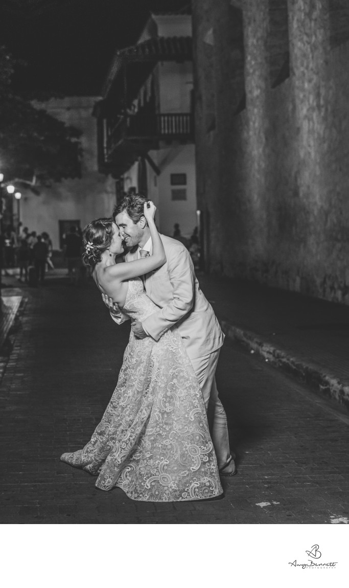 Bride and Groom Dancing in Cartagena