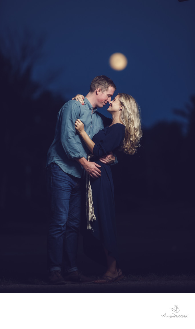 Vermont Nighttime Engagement Session with Full Moon