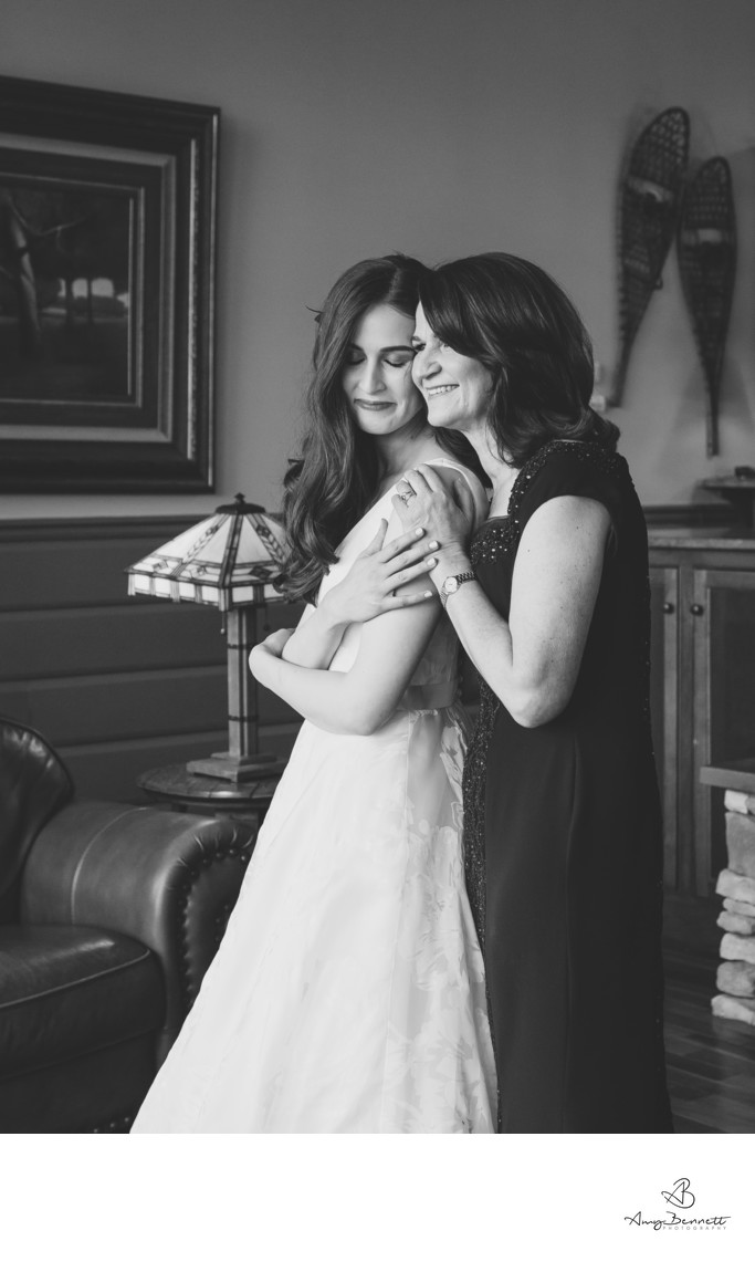 B&W Hug With Mom
